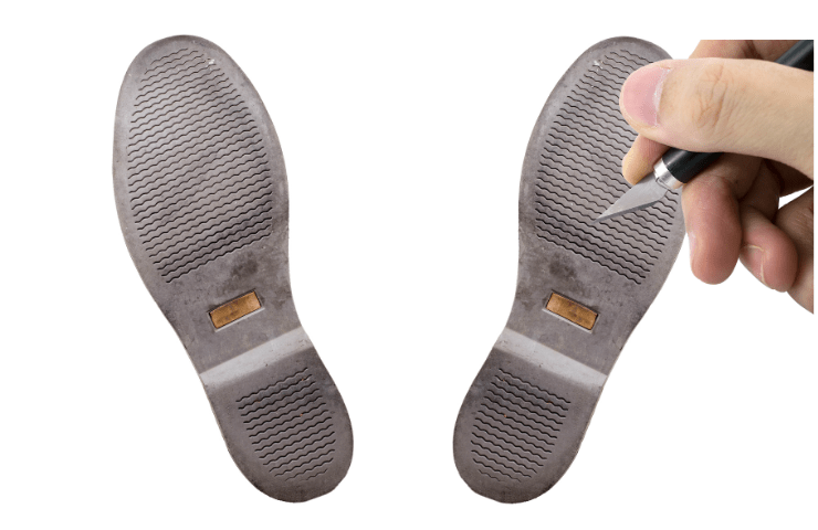 scoring the shoes bottom to make shoes slip-resistant