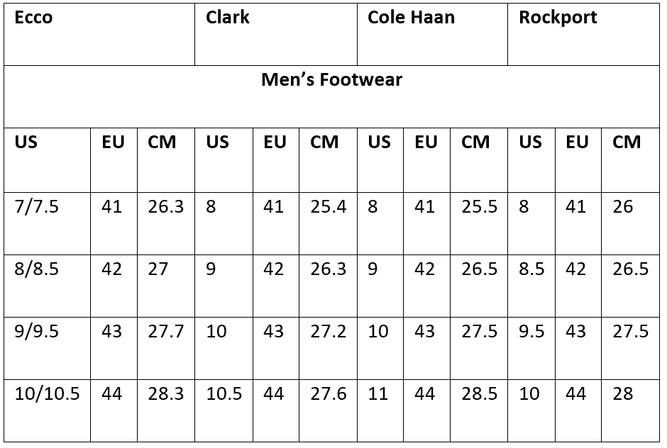 Ecco shoes sizing comparison with cole haan, Clark and rockport