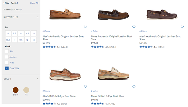 sperry shoes widths