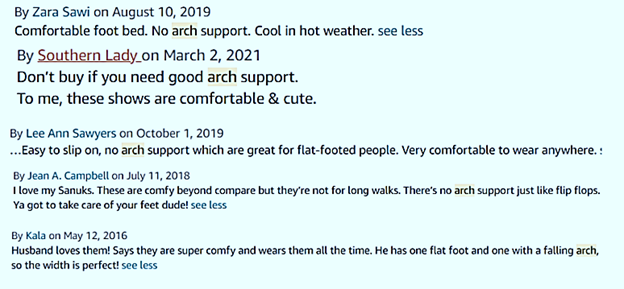 arch support reviews of sanuk shoes
