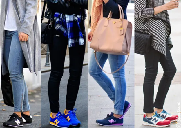 women wearing training sneakers casually with jeans
