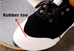 rubber toe of skate shoes