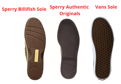 sole comparison of vans and sperry shoes