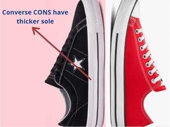 converse cons have a thicker sole as compared to the classic converse